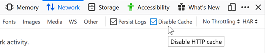 Select Persist Logs and Disable Cache