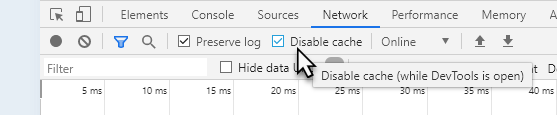 Select Preserve log and Disable cache
